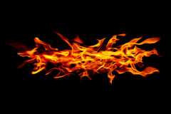 Burning fire isolated on black Royalty Free Stock Photography