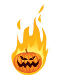 Burning in Fire Jack o Lantern Halloween Pumpkin Royalty Free Stock Photography