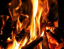 A burning fire of kindling and log wood. A glowing log camp fire with burning orange flames stock image