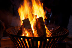 Burning fire at night Royalty Free Stock Images