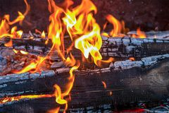 Burning fire orange tongues of flame on the charred boards. Covered with ash close-up Royalty Free Stock Photos