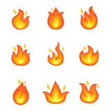 Burning Fire Set of Icons Vector Illustration. Burning fire set of icons with hot orange flames isolated on white background. Vector illustration with nine Royalty Free Stock Image