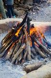 Burning fire transformed into coal Stock Photos