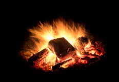 Free Burning Fire With Embers In Front Of Black Background Royalty Free Stock Photography - 115996697