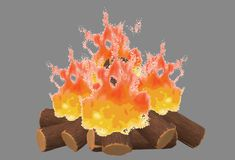 A burning fire wood logs pile campfire. A computer generated illustration image of a burning fire wood logs pile campfire against a grey backdrop stock illustration