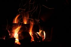 Burning fire wood at the  night Stock Photo