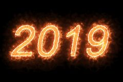 Burning 2019 fire word text with flame and smoke in fire on black background with alpha channel, concept of holiday happy new year. Event Stock Photo
