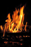 Burning fireplace Stock Images