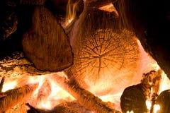 Burning fireplace Stock Image