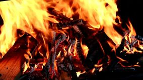 Burning fireplace background stock footage