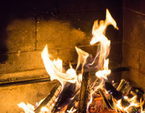 Burning fireplace. bonfire warmth fire Stock Photography