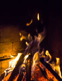 Burning fireplace. bonfire warmth fire Royalty Free Stock Image