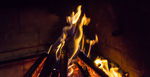 Burning fireplace. bonfire warmth fire Royalty Free Stock Photo