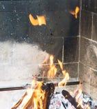 Burning fireplace. bonfire warmth fire Stock Photos