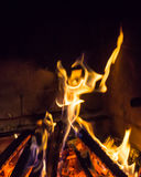 Burning fireplace. bonfire warmth fire texture Royalty Free Stock Images