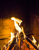 Burning fireplace. bonfire warmth fire texture Stock Photo