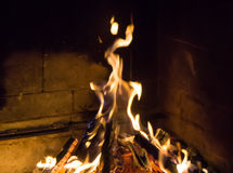 Burning fireplace. bonfire warmth fire texture Stock Image