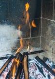 Burning fireplace. bonfire warmth object Stock Photos