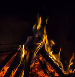 Burning fireplace. bonfire warmth object Stock Image