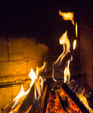 Burning fireplace. bonfire warmth object fire Royalty Free Stock Photo