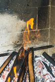 Burning fireplace. bonfire warmth object Royalty Free Stock Photography