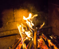 Burning fireplace. bonfire warmth texture Royalty Free Stock Images