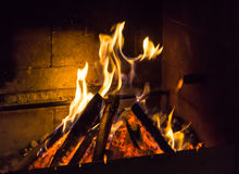 Burning fireplace. bonfire warmth texture Royalty Free Stock Photo