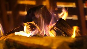 Burning in the fireplace in the comfort cozy cafe. stock video footage