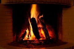 Burning fireplace Royalty Free Stock Photography