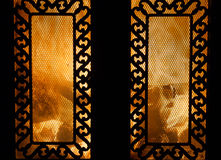 Burning fireplace Royalty Free Stock Photography