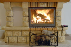 Burning Fireplace Royalty Free Stock Photo