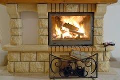 Burning Fireplace. Inside of hotel room Royalty Free Stock Photo