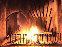 Burning Fireplace Stock Photography