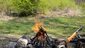 Burning fireplace for preparing food, outdoor travel stock footage