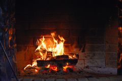 Burning Fireplace in the room Royalty Free Stock Images