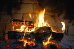 Burning Fireplace in the room Royalty Free Stock Photos