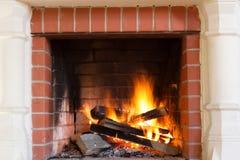 Burning fireplace. Stock Image