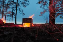 Burning firewood in the barbecue against the sky. Royalty Free Stock Photo