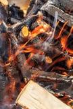 Burning firewood, bonfire macro photo Royalty Free Stock Images