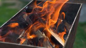 Burning Firewood in the Brazier. Summer Outdoor Cooking on a Family BBQ Grill. The Concept of Food on the Grill stock footage
