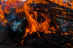 Burning firewood. Fire background with red flame stock photography
