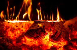 Burning Firewood Royalty Free Stock Photos