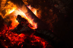 Burning firewood in the fireplace Stock Photos