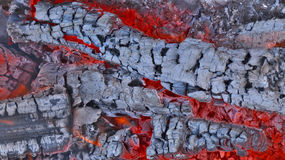 Burning firewood. Hot red coals. Royalty Free Stock Image