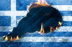 Burning Flag of Greece Royalty Free Stock Images