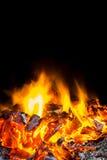 Burning flame. With Black Background Stock Photo