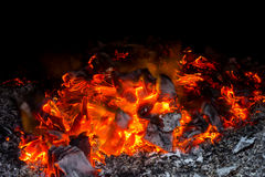 Burning flame. Burning and ashes with black background Royalty Free Stock Images