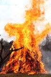 Burning flame. A bonfire ceremony held on the 15th of January, called New Year's bonfire Royalty Free Stock Photography