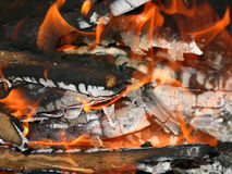 Burning flame of the campfire. At night royalty free stock photography
