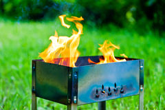 Burning flame fire in the brazier Stock Photography